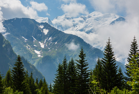 Mont Blanc mountain massif (Chamonix valley, France, view from Plaine Joux outskirts).
