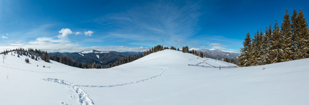 Picturesque winter morning mountain wide panorama view from alpine path with footprint. Skupova mountain slope, Ukraine, view to Chornohora ridge  tops, Carpathian. Stock Photo