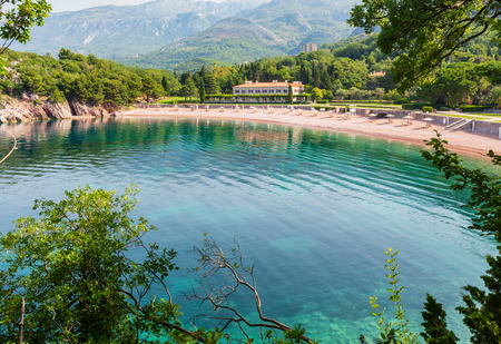The view of  pink sandy Milocher Beach (Montenegro, near Budva)