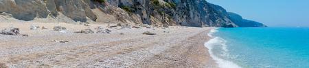 Beautiful summer white Egremni beach on Ionian Sea panorama (Lefkada, Greece). 스톡 콘텐츠