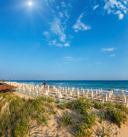 Sunshiny paradise white sandy beach with sunshades and sunbeds (Salento, Puglia, south Italy). The most beautiful sea sandy beach of Apulia. 版權商用圖片