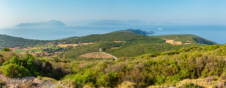 South cape of Lefkas island and lighthouse panorama (Lefkada, Greece, Ionian Sea). View from up. 版權商用圖片