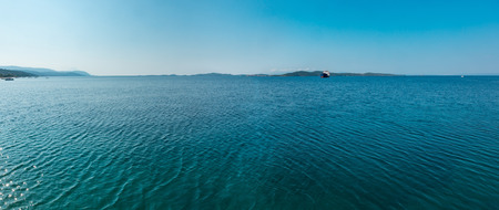 Beautiful summer seascape, view from Athos Peninsula coast (Halkidiki, Greece). Stock Photo