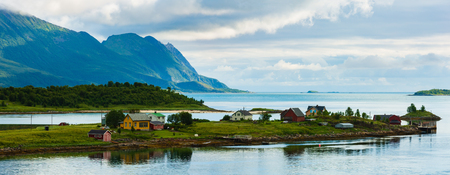 Senja summer cloudy evening fjord landscape, Grashopkjosen, Skaland, Norway. Stock Photo