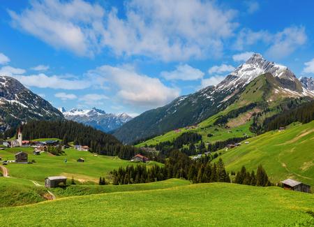 Summer Alps mountain view to Biberkopf mount (Warth, Vorarlberg, Austria). Stock Photo
