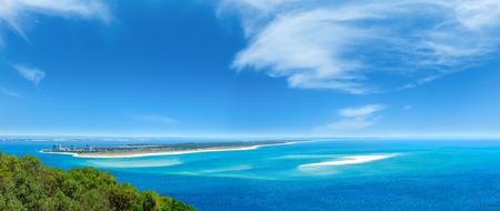 Summer sea coastal landscape of Nature Park Arrabida in Setubal, Portugal. Four shots stitch high-resolution panorama.