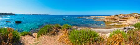 Spiaggia Massolivieri coast summer sea landscape (Siracusa, Sicily, Italy). Panorama.