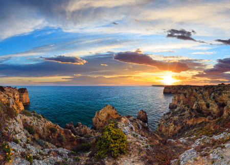 Evening Ponta da Piedade landscape (Lagos, Algarve, Portugal). Stitch high-resolution panorama.