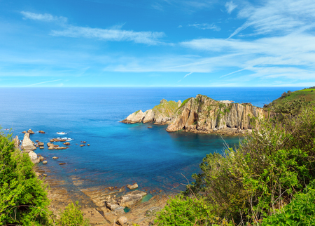 Atlantic Ocean coastline summer landscape, Silencio beach, Spain. Multi shots stitch high resolution panorama.