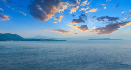 Evening sunset South cape of Lefkas island shore panorama (Lefkada, Greece, Ionian Sea).