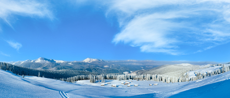 High-resolution stitch image. Morning winter calm mountain panorama with sheds group and mount ridge behind, Carpathian Mountains, Ukraine Stock Photo