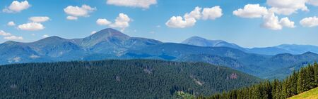Summer Chornohora mountain ridge view from Vesnjarka plateau (Carpathian, Ukraine). High-resolution three shots panorama.