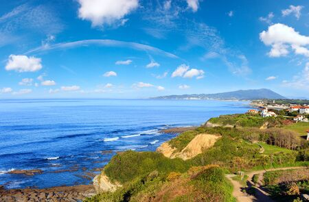 Morning ocean coast view from shore (near Saint-Jean-de-Luz, France, Bay of Biscay). Multi shots stitch panorama.
