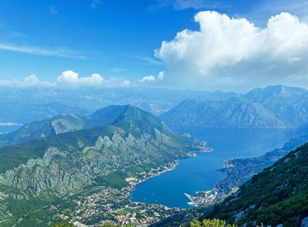Kotor town summer morning view