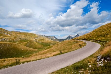 Picturesque summer mountain landscape of Durmitor National Park, Montenegro, Europe, Balkans Dinaric Alps, UNESCO World Heritage. Durmitor panoramic road, Sedlo pass.