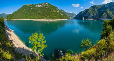 The famous Piva river canyon with its fantastic reservoir Piva Lake (Pivsko Jezero) summer view in Montenegro.