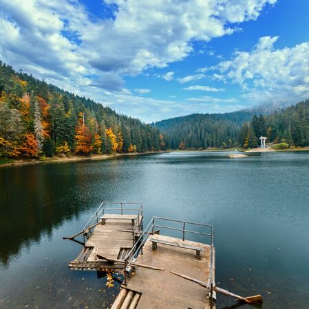 National Nature Park Synevyr autumn landscape. Is largest lake in the Carpathian Mountains of Ukraine, Mizhhiria, Zakarpattia Oblast.