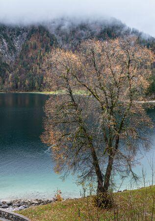 Mountain alpine autumn lake Achensee, Alps, Tirol, Austria. Picturesque traveling, seasonal and nature beauty concept scene. Фото со стока