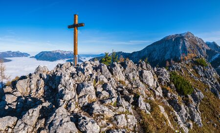 Autumn Alps mountain misty morning view from Jenner Viewing Platform, Schonau am Konigssee, Berchtesgaden national park, Bavaria, Germany.  Picturesque traveling, seasonal and nature beauty scene. Фото со стока - 139860767