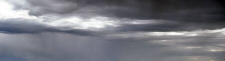 Clouds in the overcast stormy sky panoramic view. Climate, environment and weather concept sky background.