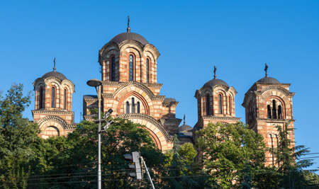 Serbian Orthodox St. Mark's Church (Church of St. Mark) in Belgrade, Serbia. It was built in the Serbo-Byzantine style, completed in 1940, on the site of a previous church dating to 1835.
