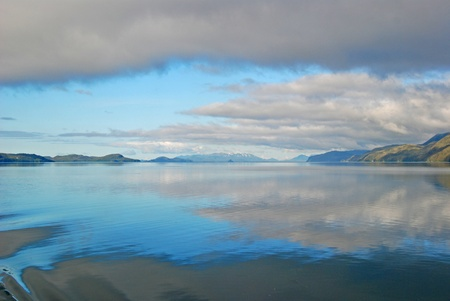 william: Early morning fog and mist In Prince William Sound near Cordova, Alaska Stock Photo