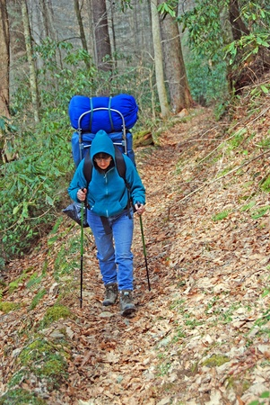 Backpacker on the Caldwell fork trail in the Cataloochee Valley in the Great Smoky Mountains
