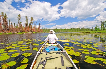 waters: Canoer on Cross Bay Lake in the Boundary Waters Stock Photo
