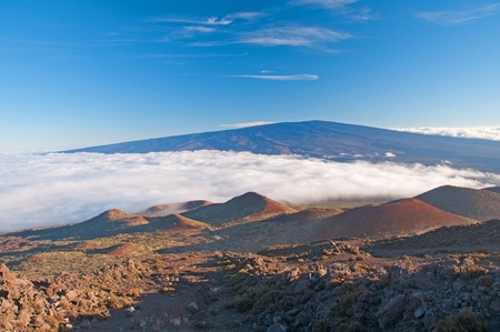 volcanos: View of Mauna Loa from the slopes of Mauna Kea in the late evening Stock Photo