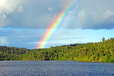 Rainbow over Ottertrack lake in the The Boundary waters