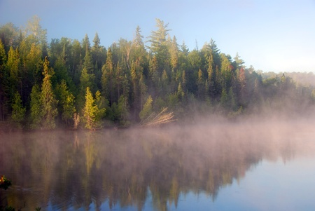 provincial: Morning fog on Bell lake in Quetico Provincial Park