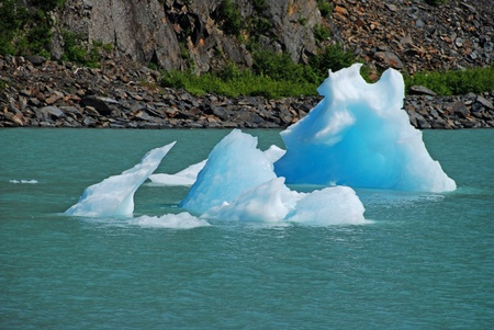 This picture is taken by the Portage Glacier near Anchorage, Alaska