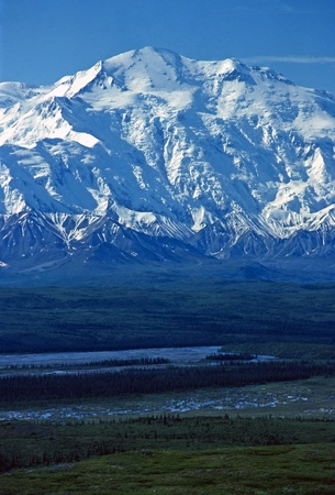 Dramatic View of Mt Mckinley across the Mckinley river near Wonder Lake