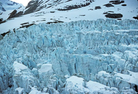 muir: Ice falls of the Muir Glacier in Glacier Bay National Park Stock Photo