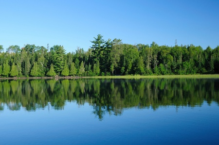 This picture is taken on Basswood Lake in the early morning on a very clear day