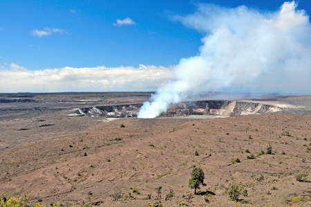 Steam is coming from an active vent in the Kilauea crater on the Big Island of Hawaii