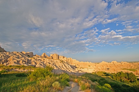 Sunset and clouds in the badlands Stock Photo - 12842161