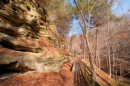 late fall: Trail in Starved Rock State Park in late fall Stock Photo