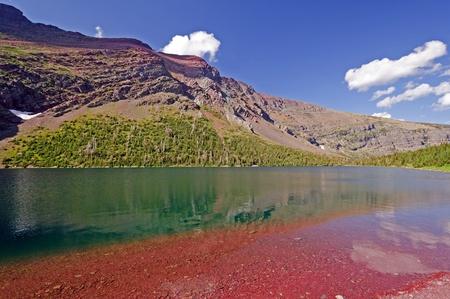 빙하 국립 공원의 오카 토미 호수 스톡 콘텐츠