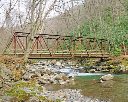 This bridge is former railroad bridge now used just for hiking in the smoky mountains photo