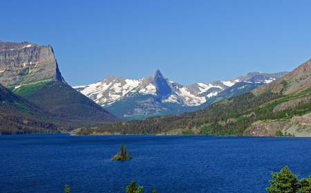 Fusillade Mountains and St mary lake in Glacier National Park photo