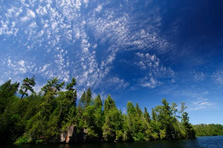 cirrus: Cirrus clouds over Winchell Lake in the Boundary Waters