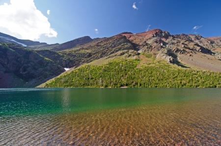 빙하 국립 공원의 여름철 오카 토미 호수