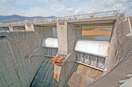 Spillway for a large dam made out of concrete Banco de Imagens