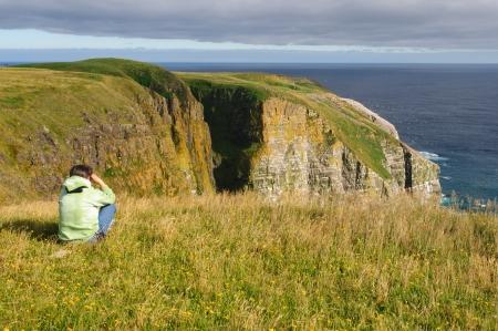 birdwatcher: Birdwatcher on Cape St Marys in Newfoundland