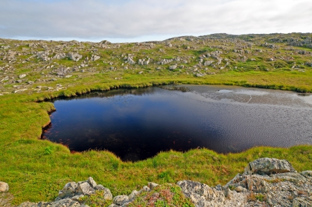 grates: Pond and rocks on a hill near Grates Cove, Newfoundland