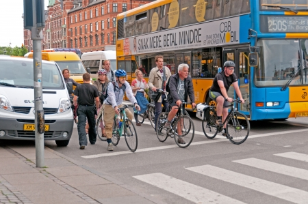 Bike riders are part of the traffic in the Copenhagen morning rush hour