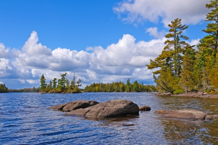 water's: Little Saganaga Lake in the Boundary Waters in Minnesota Stock Photo