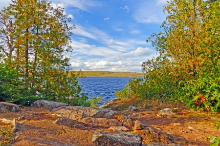 View from Campsite on Gabamichigami Lake in the Boundary Waters Banco de Imagens