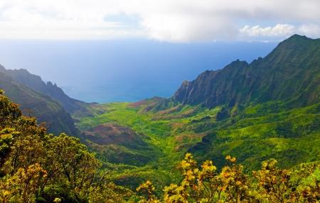 カウアイ島 Na Pali の海岸にカララウ渓谷